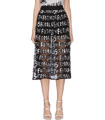 'levon' sequin slogan sheer midi skirt