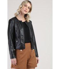 jaqueta feminina com bolsos preta