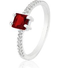 anel prata rara carrê jade vermelha