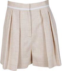 stella mccartney light beige viscose-linen blend shorts