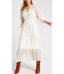 river island womens cream lace long sleeve maxi smock dress