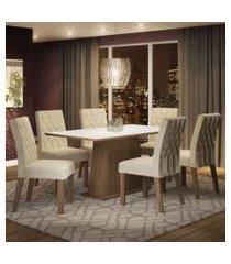 conjunto sala de jantar madesa daniela mesa tampo de madeira com 6 cadeiras rustic/branco/imperial