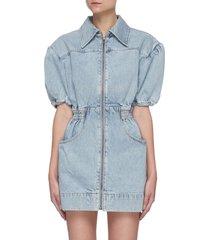 'overturn' puff sleeve cinch waist zip up denim mini dress