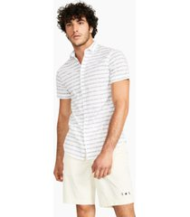 ax armani exchange men's regular-fit stretch logo-stripe shirt, created for macy's