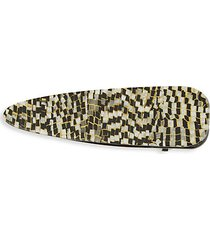 geometric-print oval hair clip