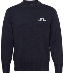 beckert-wool coolmax stickad tröja m. rund krage blå j. lindeberg