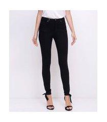 calça legging com detalhes em pu | a-collection | preto | gg