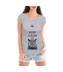 camiseta criativa urbana keep calm and be cool gato