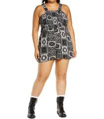 plus size women's bp. smocked bodice romper, size 1x - black