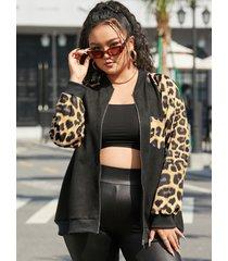 yoins chaqueta de manga larga con diseño de bolsillo de leopardo y cuello redondo de talla grande