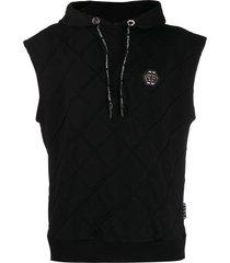 philipp plein statement sleeveless hoodie - black