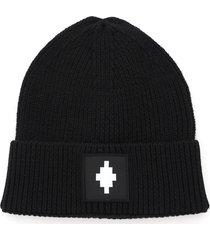 marcelo burlon beanie hat with logo patch
