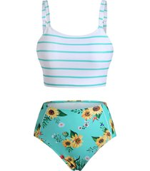 striped sunflower tankini swimwear