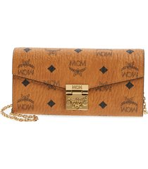women's mcm large patricia visetos canvas wallet on a chain - brown
