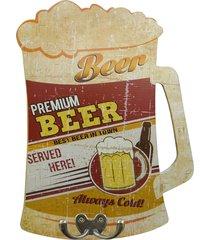 cabideiro de parede beer premium - laranja/multicolorido - dafiti