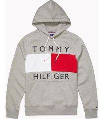 tommy hilfiger men's adaptive logo flag hoodie grey heather - m