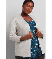 lane bryant women's open-front cardigan - 3/4 sleeves 22/24 medium heather grey