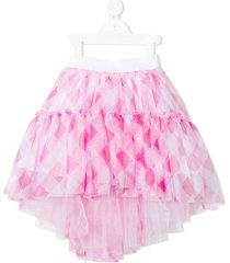 monnalisa plaid tulle skirt - pink