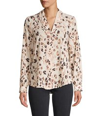 printed button-front top