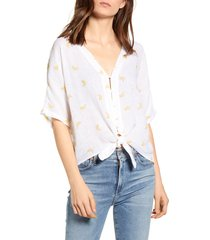 women's rails thea tie waist blouse, size small - white