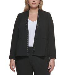 calvin klein plus size studded open-front jacket