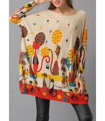 donna vintage maglione con collo sciolto a maniche di pipistrello