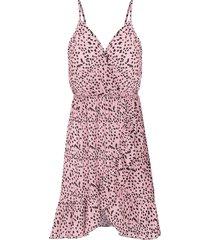 cheetah spaghetti jurk roze