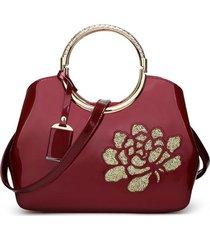 7054a9596d8537 donna borsa a mano in pelle verniciata lucida in ricamo floreale alla moda