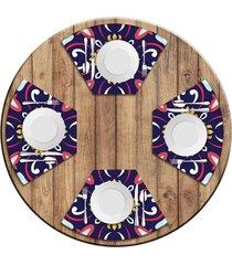 jogo americano   para mesa redonda wevans mandala roxa kit com 4 peças.  love decor