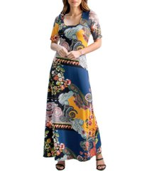 women's floral elbow sleeve maxi dress
