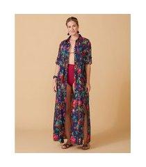 camisão feminino -camisão penelope cor: azul marinho, rosa e verde estampado - tamanho: p