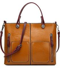 donna borsa a tracolla a spalla in pelle incerata ed oliata di stile retro tote bag