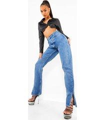jeans met hoge taille en split aan de zijkant, middenblauw