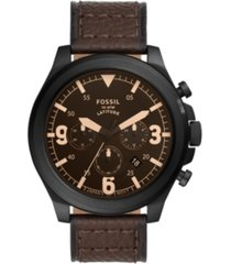 fossil men's latitude brown leather strap watch 50mm