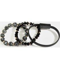lauren phone cable bracelet set - black