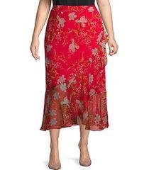 plus floral wrap skirt