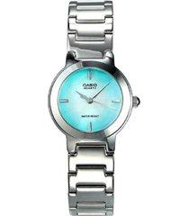 ltp-1191a-3c reloj dama en acero azul aguamarina