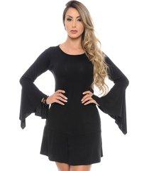 vestido curto b bonnie manga flare flora preto