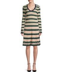 knit chevron long-sleeve dress
