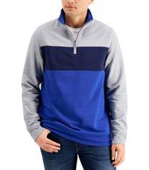 club room men's colorblocked quarter-zip fleece sweatshirt, created for macy's