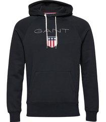 gant shield hoodie sweat-shirts & hoodies hoodies zwart gant
