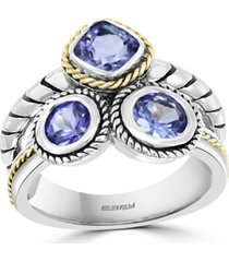 effy tanzanite statement ring (1-3/4 ct. t.w.) in sterling silver & 18k gold-plate