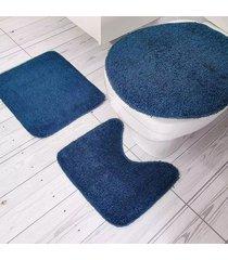 jogo de banheiro tapetes júnior algodão color pop 3 peças azul petróleo com base antiderrapante