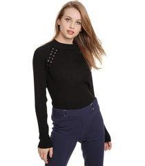 sweater ash ojetillos negro - calce ajustado