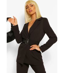 tailored oversized buckle fitted blazer, black