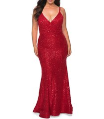 plus size women's la femme sparkle lace cutout back trumpet gown, size 14w - red