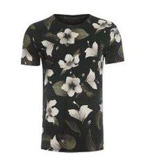 t-shirt masculina double floral aqua mist - preto