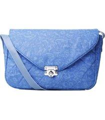 bolsa duccini carteiro arabesco azul - tricae