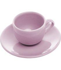 conjunto 6 xícaras cerâmica para café com pires alanya plum 125ml