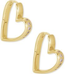 kendra scott 14k gold-plated small cubic zirconia heart hoop earrings